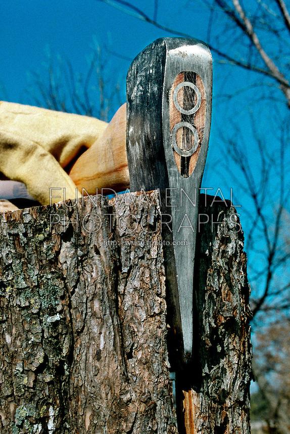 AXE SPLITTING WOOD SHOWING WEDGE<br /> Axe Splitting Wood, Showing Wedge