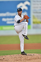 Asheville Tourists starting pitcher Nick Kennedy (8) delivers a pitch during a game against the Hickory Crawdads at McCormick Field on August 17, 2018 in Asheville, North Carolina. The Tourists defeated the Crawdads 6-3. (Tony Farlow/Four Seam Images)