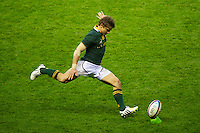 Pat Lambie of South Africa takes a penalty kick during the QBE Autumn International match between England and South Africa at Twickenham on Saturday 24 November 2012 (Photo by Rob Munro)