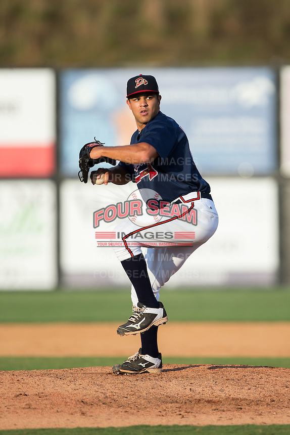 Danville Braves relief pitcher Dalton Carroll (53) in action against the Pulaski Yankees at American Legion Post 325 Field on July 31, 2016 in Danville, Virginia.  The Yankees defeated the Braves 8-3.  (Brian Westerholt/Four Seam Images)