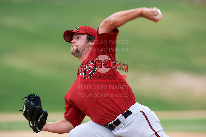 Arizona Diamondbacks minor league pitcher Mike Blake #11 during an instructional league game against the Oakland Athletics at the Papago Park Baseball Complex on October 11, 2012 in Phoenix, Arizona.  (Mike Janes/Four Seam Images)