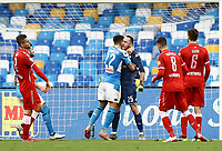 14th January 2020; Stadio San Paolo, Naples, Campania, Italy; Coppa Italia Football, Napoli versus Perugia; Goalkeeper David Ospina of Napoli saves the penalty from Pietro Iemmello of Perugia in the 45th minute and is hugged by team mate Di Lorenzo - Editorial Use
