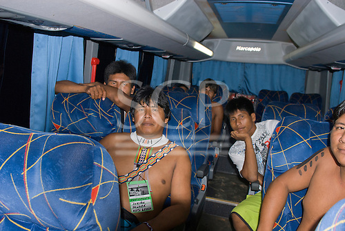 "Altamira, Brazil. ""Xingu Vivo Para Sempre"" protest meeting about the proposed Belo Monte hydroeletric dam and other dams on the Xingu River and its tributaries. Panara Indians from Mato Grosso state, in the bus going home."