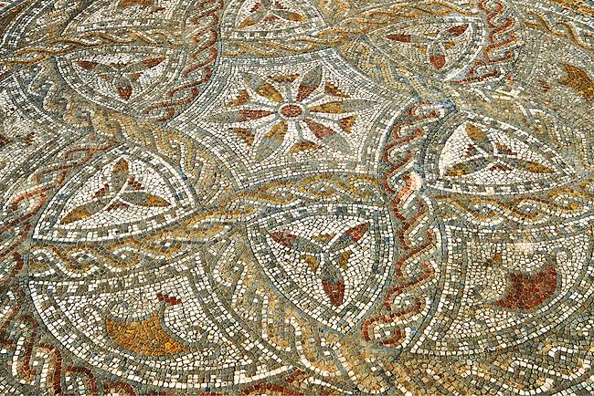 Geometric designed Roman floor mosaic. Volubilis Archaeological Site, near Meknes, Morocco