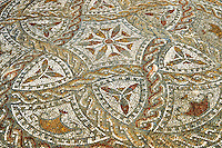 Geometric designed Roman floor mosaic. Volubilis Archaeological Site, near Meknes, Morocco