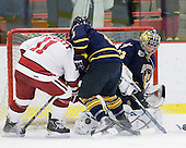 Daniel Moriarty (Harvard - 11), Cory Hibbeler (Quinnipiac - 6), Eric Hartzell (Quinnipiac - 33) - The visiting Quinnipiac University Bobcats defeated the Harvard University Crimson 3-1 on Wednesday, December 8, 2010, at Bright Hockey Center in Cambridge, Massachusetts.