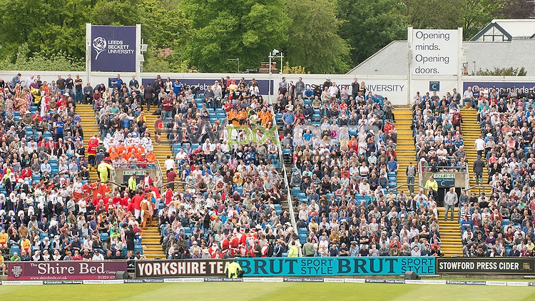 Picture by Allan McKenzie/SWpix.com - 21/05/2016 - Cricket - 2nd Investec Test - England v Sri Lanka - Headingley Cricket Ground, Leeds, England -  The brief, White Rose Stand, Mazars, Leeds Beckett University, branding.