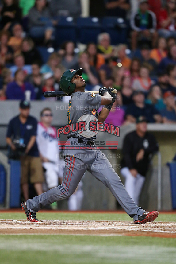 Terry McClure (5) of the Boise Hawks bats during a game against the Hillsboro Hops at Ron Tonkin Field on August 21, 2015 in Hillsboro, Oregon. Boise defeated Hillsboro, 7-1. (Larry Goren/Four Seam Images)