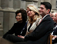 House Speaker Paul Ryan of Wis., his wife Janna, and Transportation Secretary Elaine Chao and Senate Majority Leader Mitch McConnell listen during the State Funeral for former President George H.W. Bush at the National Cathedral, Wednesday, Dec. 5, 2018, in Washington.  <br /> <br /> CAP/MPI/RS<br /> &copy;RS/MPI/Capital Pictures