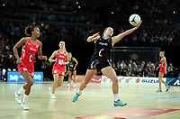 15.09.2018 Silver Ferns Samantha Sinclair in action during Silver Ferns v England netball test match at Spark Arena in Auckland. Mandatory Photo Credit ©Michael Bradley.
