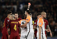 Football Soccer: UEFA Champions League  Round of 16 Second Leg, AS Roma vs FC Shakhtar Donetsk, Stadio Olimpico Rome, Italy, March 13, 2018. <br /> Shakhtar Donetsk's Ivan Ordets (c) is shown a red card by referee Alberto Undiano Mallenco during the Uefa Champions League football soccer match between AS Roma and FC Shakhtar Donetsk, at at Rome's Olympic stadium, March 13, 2018.<br /> UPDATE IMAGES PRESS/Isabella Bonotto