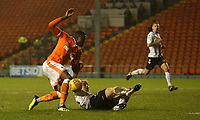 Blackpool's Joe Dodoo is tackled by Charlton Athletic's George Lapslie <br /> <br /> Photographer Stephen White/CameraSport<br /> <br /> The EFL Sky Bet League One - Blackpool v Charlton Athletic - Saturday 8th December 2018 - Bloomfield Road - Blackpool<br /> <br /> World Copyright &copy; 2018 CameraSport. All rights reserved. 43 Linden Ave. Countesthorpe. Leicester. England. LE8 5PG - Tel: +44 (0) 116 277 4147 - admin@camerasport.com - www.camerasport.com