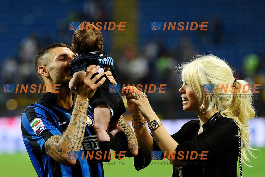 Mauro Icardi Inter con Wanda Nara e sua figlia Francesca<br /> Milano 31-05-2015 Stadio Giuseppe Meazza - Football Calcio Serie A Inter - Empoli. Foto Giuseppe Celeste / Insidefoto