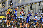 Deceuninck-Quick Step on stage at the team presentation in Antwerp before the start of the 2019 Ronde Van Vlaanderen 270km from Antwerp to Oudenaarde, Belgium. 7th April 2019.<br /> Picture: Eoin Clarke | Cyclefile<br /> <br /> All photos usage must carry mandatory copyright credit (&copy; Cyclefile | Eoin Clarke)