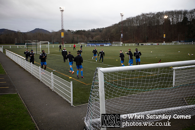 Gala Fairydean Rovers 4, Gretna 1, 25/01/2020. Netherdale, Scottish Lowland League. Visiting players warming up  before Gala Fairydean Rovers host Gretna 2008 in a Scottish Lowland League match at Netherdale, Galashiels. The home club were established in 2013 through a merger of Gala Fairydean, one of Scotland's most successful non-League clubs, and local amateur club Gala Rovers. The visitors were a 'phoenix' club set up in the wake of the collapse of the original club, which had competed for a short time in the 2000s before going bankrupt. The home aside won this encounter 4-1 watched by a crowd of 120. Photo by Colin McPherson.