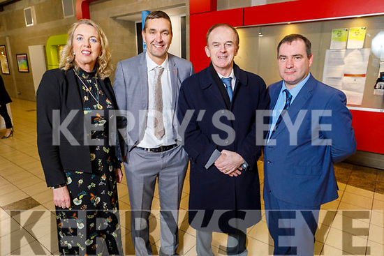 Attending the Kerry ETB Student Awards ceremony in the IT Tralee on Friday night. Theresa Lonergan (Castleisland Community College), Maurice Fitzgerald (Colaiste na Sceilge), Richard Lawlor (Colaiste Gleann Lí) and Stephen Goulding (Colaiste Realta Listowel).