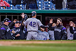 15 April 2018: Colorado Rockies first baseman Ian Desmond returns to the dugout after hitting a solo go-ahead, game winning home run in the 9th inning against the Washington Nationals at Nationals Park in Washington, DC. All MLB players wore Number 42 to commemorate the life of Jackie Robinson and to celebrate Black Heritage Day in pro baseball. The Rockies edged out the Nationals 6-5 to take the final game of their 4-game series. Mandatory Credit: Ed Wolfstein Photo *** RAW (NEF) Image File Available ***