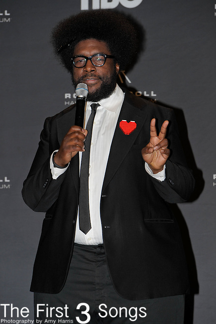 Questlove in the press room of the Rock & Roll Hall of Fame Induction Ceremony in Cleveland, Ohio on April 14, 2012.