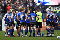 The Bath Rugby team huddle together during a break in play. Gallagher Premiership match, between Bath Rugby and Harlequins on March 2, 2019 at the Recreation Ground in Bath, England. Photo by: Patrick Khachfe / Onside Images