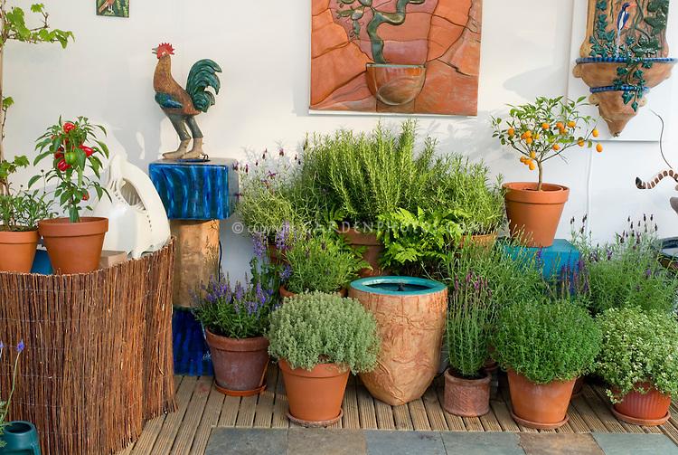 Edibles container garden plant flower stock for Garden decking ornaments
