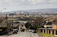 Pictured: The Llanelli skyline as seen from nearby Loughor. Wednesday 09 March 2018<br /> Re: The effect that the Scarlets RFC has had in the town of Llanelli in Carmarthenshire and the west Wales region.