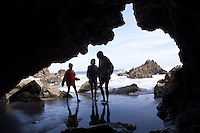 The Banks girls explore the tidepools and caves at Leo Carillo State Beach...For TRavel story / Escape written by Times staffer Sandy Banks, girls weekend away camping at Leo Carillo.