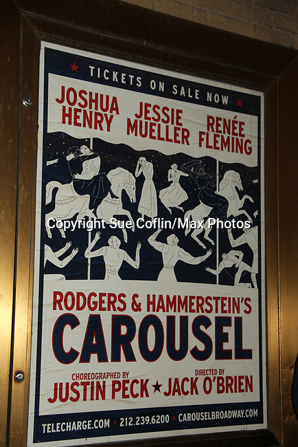 As The World Turns' Margaret Colin stars as Mrs. Mullin in Bradway's Carousel with opening night being April 12, 2018 at the Imperial Theatre, New York City. Her husband Justin Deas (As The World Turns' and Guiding Light) and children Sam and Joe attended the opening night and posed outside the stage door. (Photo by Sue Coflin/Max Photo)