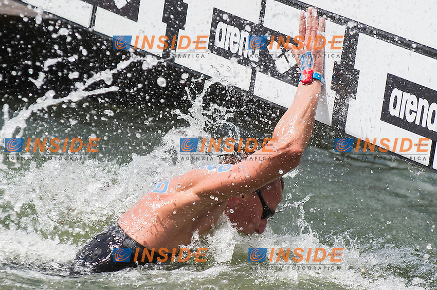 ABROSIMOV Kirill RUS gold medal European Champion<br /> Hoorn, Netherlands <br /> LEN 2016 European Open Water Swimming Championships <br /> Open Water Swimming<br /> Men's 5km<br /> Day 02 12-07-2016<br /> Photo Giorgio Perottino/Deepbluemedia/Insidefoto