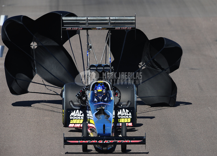 Oct. 16, 2011; Chandler, AZ, USA; NHRA top fuel dragster driver David Grubnic during the Arizona Nationals at Firebird International Raceway. Mandatory Credit: Mark J. Rebilas-