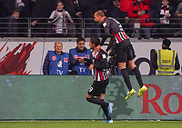 celebrate the goal, Torjubel zum 2:0 Goncalo Paciencia (Eintracht Frankfurt), Bas Dost (Eintracht Frankfurt), Martin Hinteregger (Eintracht Frankfurt) - 18.10.2019: Eintracht Frankfurt vs. Bayer 04 Leverkusen, Commerzbank Arena, <br /> DISCLAIMER: DFL regulations prohibit any use of photographs as image sequences and/or quasi-video.