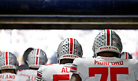 Ohio State Buckeyes offensive lineman Joshua Alabi (58) and Ohio State Buckeyes offensive lineman Thayer Munford (75) leaves the locker room for warm ups before their NCAA football against Penn State Nittany Lions at Beaver Stadium in University Park, Pa. on September 29, 2018.  [Kyle Robertson/Dispatch]