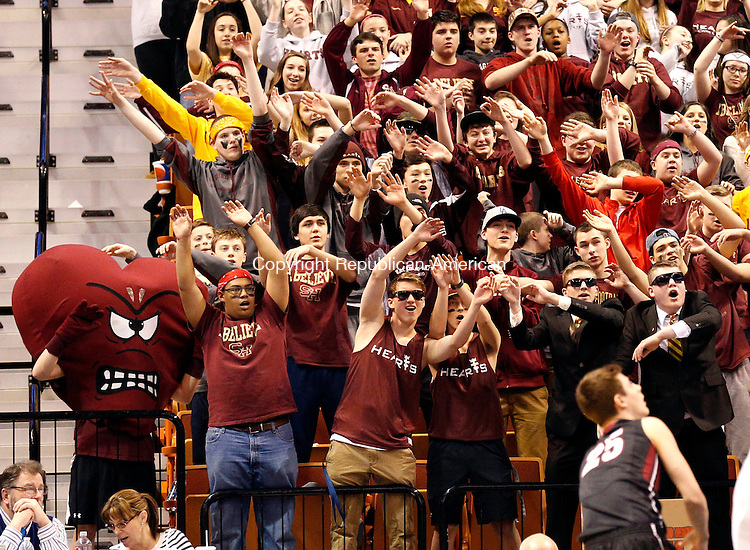 Uncasville, CT- 22 March 2015-032215CM18- Sacred Heart fans cheer on their team as they play against Valley Regional during the Class S state championship game at Mohegan Sun Arena in Uncasville on Sunday.    Christopher Massa Republican-American