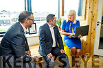 Minister for Jobs Enterprise and Innovation, Mary Mitchell-O'Connor, TD, with Ken Tobin of HQ Tralee and Tom O'Leary, HQ Tralee at the Launch of HQTralee, Co.Kerry, the first recipient of Vodafone and SIRO's, Gigabit- Hub Initiative on Friday