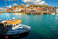Fishing boat in Whitby harbour. North Yorkshire, England