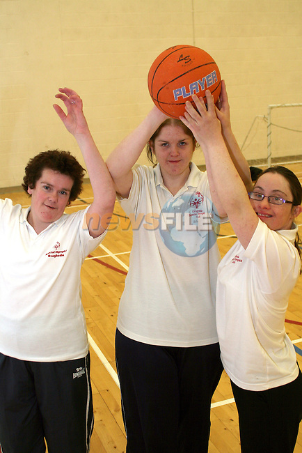 Basketball Players, Amanda McDonagh, Ashley Dowd and Eimear McAdam at the Launch of the Special Olympics Team...Photo NEWSFILE/Jenny Matthews.(Photo credit should read Jenny Matthews/NEWSFILE)....This Picture has been sent you under the condtions enclosed by:.Newsfile Ltd..The Studio,.Millmount Abbey,.Drogheda,.Co Meath..Ireland..Tel: +353(0)41-9871240.Fax: +353(0)41-9871260.GSM: +353(0)86-2500958.email: pictures@newsfile.ie.www.newsfile.ie.FTP: 193.120.102.198.
