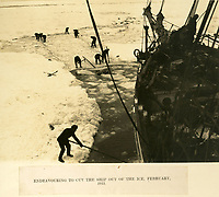 BNPS.co.uk (01202 558833)<br /> Pic: Bonhams/BNPS<br /> <br /> The crew desperately tried to cut the Endurance free from the ice.<br /> <br /> Photographic record of one of the worlds most epic tales of endurance...<br /> <br /> Remarkable photos documenting Sir Ernest Shackleton's ill-fated attempt to cross Antarctica over 100 years ago have emerged for sale for £40,000.<br /> <br /> The 1914-17 expedition is remembered for one of the greatest feats of human bravery and endurance after the party became stranded for 18 months in freezing conditions. <br /> <br /> The expedition's official photographer, Frank Hurley, captured their ordeal on camera and made presentation albums when he eventually returned to Britain.<br /> <br /> One album was given to King George V. Seven are believed to survive today, including the one for sale that has been owned by a private collector for over 40 years.
