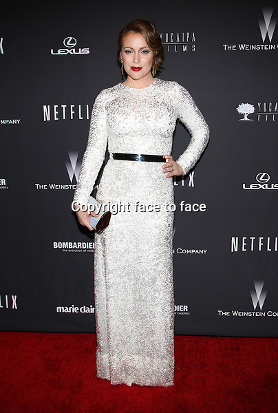 Beverly Hills, California - January 12: Alyssa Milano at The Weinstein Company &amp; Netflix 2014 Golden Globes After Party on January 12, 2014 at The Beverly Hilton Hotel, California. <br />