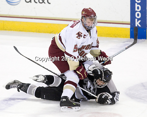 Philip Samuelsson (BC - 5), Chris Eppich (Providence - 19) - The Boston College Eagles defeated the Providence College Friars 4-1 on Tuesday, January 12, 2010, at Conte Forum in Chestnut Hill, Massachusetts.
