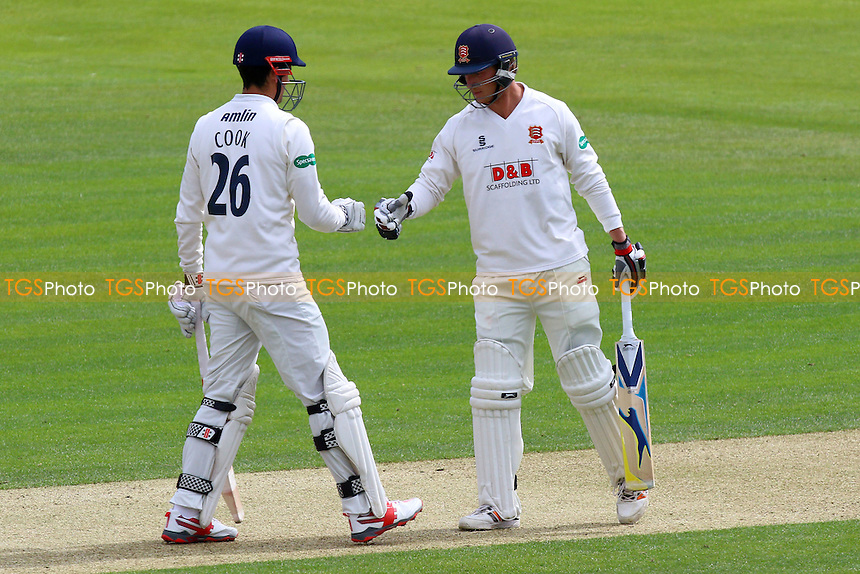 Tom Westley (R) congratulates Alastair Cook on his fifty for Essex during Essex CCC vs Northamptonshire CCC, Specsavers County Championship Division 2 Cricket at the Essex County Ground on 24th April 2016