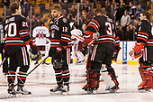 Eric Williams (NU - 20), Zach Aston-Reese (NU - 12), Curtis Frye (NU - 31), Jake Schechter (NU - 11) - The Harvard University Crimson defeated the Northeastern University Huskies 4-3 in the opening game of the 2017 Beanpot on Monday, February 6, 2017, at TD Garden in Boston, Massachusetts.