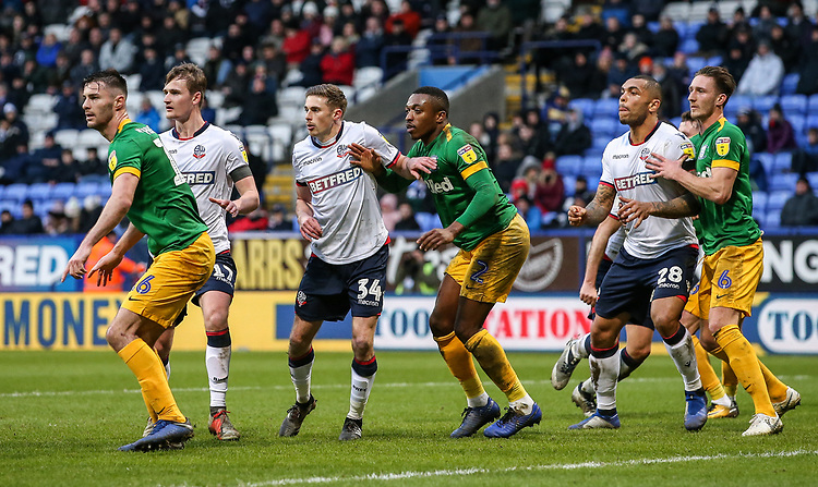 Bolton Wanderers' players attack a corner <br /> <br /> Photographer Andrew Kearns/CameraSport<br /> <br /> The EFL Sky Bet Championship - Bolton Wanderers v Preston North End - Saturday 9th February 2019 - University of Bolton Stadium - Bolton<br /> <br /> World Copyright &copy; 2019 CameraSport. All rights reserved. 43 Linden Ave. Countesthorpe. Leicester. England. LE8 5PG - Tel: +44 (0) 116 277 4147 - admin@camerasport.com - www.camerasport.com