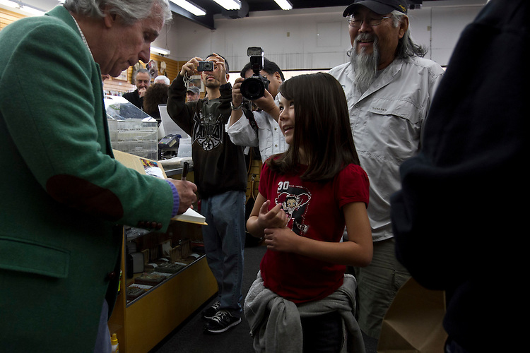 """Actor/director Henry Winkler greeted a crowd of over a hundred fans at a book signing for his """"I've Never Met An Idiot on The River"""" fly fishing memoir at the Fishermans Spot in the Van Nuys section of Los Angeles Calif., December 11, 2011...Photo Gerard Burkhart.gbpix.photoshelter.com"""