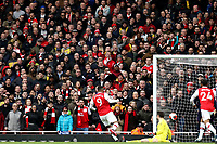 7th March 2020; Emirates Stadium, London, England; English Premier League Football, Arsenal versus West Ham United; Arsenal fans look on as Alexandre Lacazette scores for 1-0