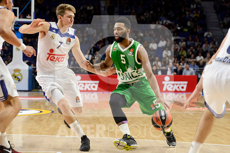 Real Madrid's player Luka Doncic and Unics Kazan's player Keith Langford during match of Turkish Airlines Euroleague at Barclaycard Center in Madrid. November 24, Spain. 2016. (ALTERPHOTOS/BorjaB.Hojas)
