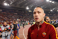 Calcio, Serie A: Roma vs Juventus. Roma, stadio Olimpico, 14 maggio 2017. <br /> Roma's Radja Nainggolan greets fans at the end of the Italian Serie A football match between Roma and Juventus at Rome's Olympic stadium, 14 May 2017. Roma won 3-1.<br /> UPDATE IMAGES PRESS/Riccardo De Luca