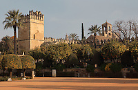 The Alcazar de los Reyes Cristianos or Palace of the Catholic Kings, with the Torre de los Leones (left), built 1662 and now the main entrance, and the Torre del Homenaje or Tribute Tower (right), in Cordoba, Andalusia, Southern Spain. The Torre del Homenaje was renovated by Ferdinand and Isabella and here their knights swore allegiance to the Catholic faith. The alcazar was rebuilt during the Umayyad Caliphate in the 10th century and used as a royal fortress by the Moors and the Christians, as a base for the Spanish Inquisition, and as a prison. The alcazar is a national monument of Spain, and the historic centre of Cordoba is listed as a UNESCO World Heritage Site. Picture by Manuel Cohen