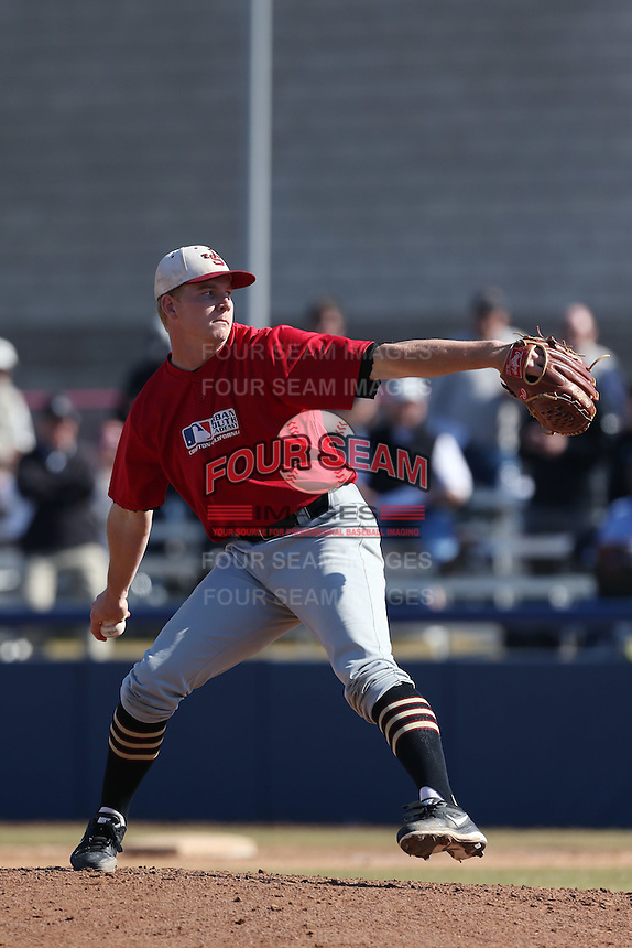 Parker Joe Robinson of Junipero Serra High School in San Juan Capistrano, California during the MLBS Southern California Invitational Workout at the Urban Youth Academy on February 14, 2014 in Compton, California. (Larry Goren/Four Seam Images)