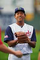 Cedar Rapids Kernels pitcher Yorman Landa (38) before a game against the Kane County Cougars on August 18, 2015 at Perfect Game Field in Cedar Rapids, Iowa.  Kane County defeated Cedar Rapids 1-0.  (Mike Janes/Four Seam Images)