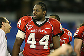 January 5th, 2008:  Ball State defensive end Cortlan Booker (44) on stage after accepting the runner up trophy after the International Bowl at the Rogers Centre in Toronto, Ontario Canada...Rutgers defeated Ball State 52-30.  ..Photo By:  Mike Janes Photography