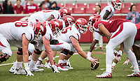 Hawgs Illustrated/BEN GOFF <br /> Offensive and defensive lines square up in the fourth quarter Saturday, April 6, 2019, during the Arkansas Red-White game at Reynolds Razorback Stadium.